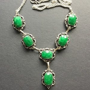 Emerald Square Cut Vintage Style Gemstone Necklace